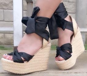 Sandalia En Plataforma Yute Color Negra Amarrar Envío Gratis