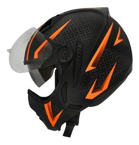 Capacete Moto Peels Mirage Óculos Interno Storm Laranja Nf