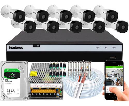 Kit Cftv 10 Cameras Vhd 1220b G4 Intelbras 2mp Dvr 16 Canais