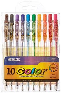 Bazic 10 Bolígrafo Retráctil Color