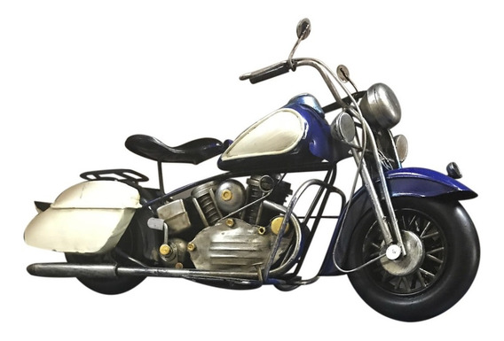 Moto Motor Azul Antiguo Añejo Coleccion Miniatura