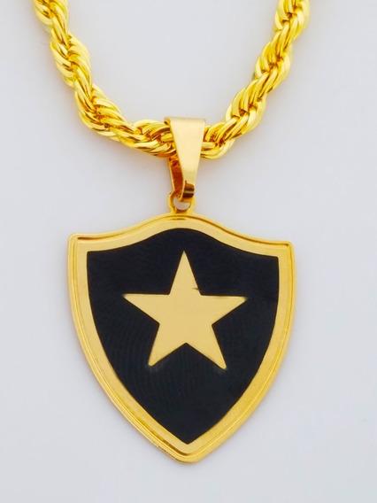 Cordão Pingente Botafogo 60 Cm Banhado Ouro. C7p757