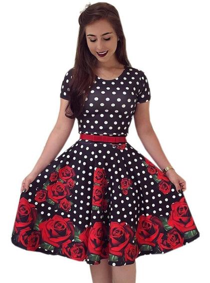 Vestido Gode Midi Social Floral Moda Gospel Incluso Cinto