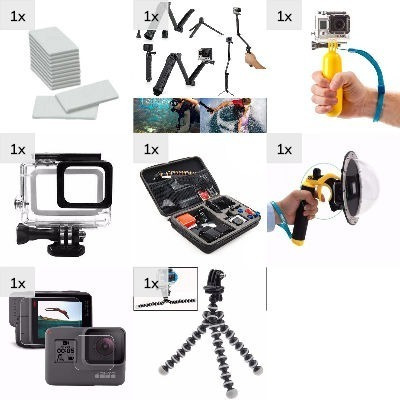 Kit Gopro 5 6 7 Dome Estanque Película 3 Way Boia Mini Tripé