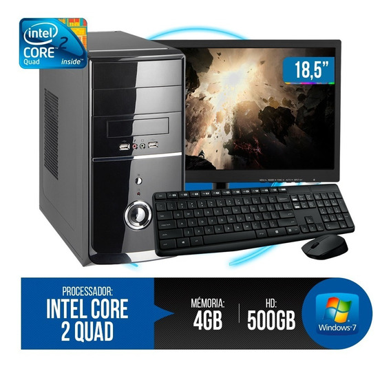 Pc Completo Intel Core 2 Quad, 4gb Ram Ddr3, Hd 500gb