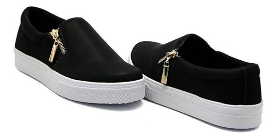 Slip On Dk Shoes Sola Baixa Detalhe Zíper Adulto E Infantil