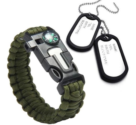 Kit Militar Pulseira Paracord + Colar Dog Tag Identificação