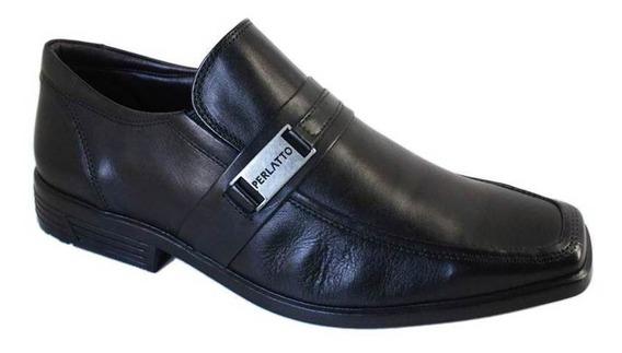 Sapato Perlatto Social Bico Quadrado Couro - 66096609 Preto