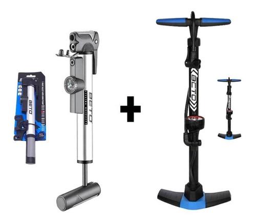 Combo Inflador Piso + Mini Bomba Aire Bicicleta Manómetro