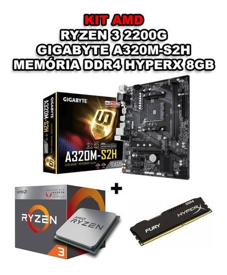 Kit Amd Ryzen 3 2200g + Gigabyte A320m-s2h + Hyperx 8gb Ddr4