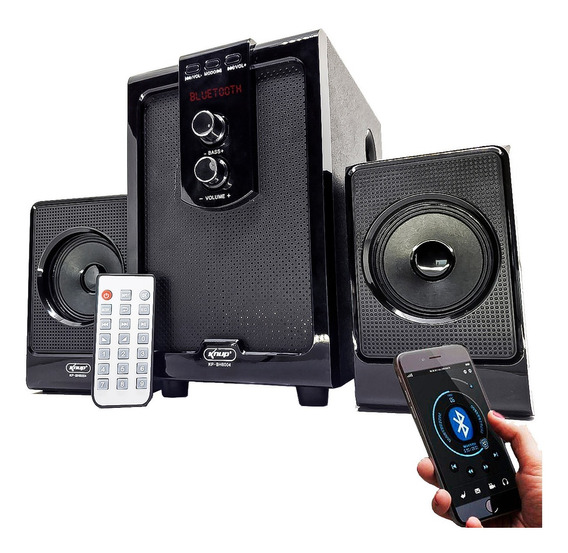 Caixa Som Home Theater Pc Subwoofer 2.1 Bluetooth Mp3 Fm Usb