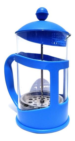 Cafetera Prensa Francesa Azul 800ml Para 4 Tazas Café O Té