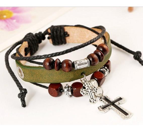 Pulseira Bracelete Couro - Verde - Cruz Unissex - 012
