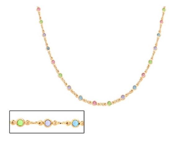 Gargantilha Rommanel Pedras Coloridas 50cm 530872