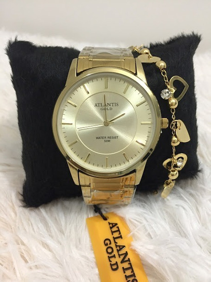 Relógio E Pulseira Feminino Kit Gold