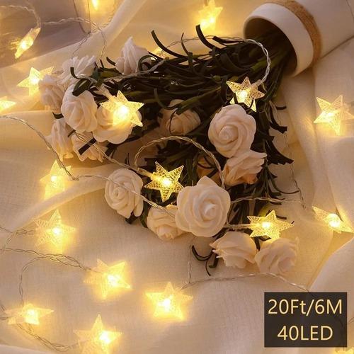 Imagen 1 de 6 de Cortina Serie De Luces Con 6m 40led Estrella Luz Cadena