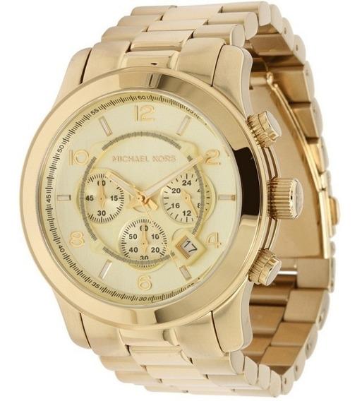 Relógio Michael Kors Mk8077 Dourado Grande C/caixa
