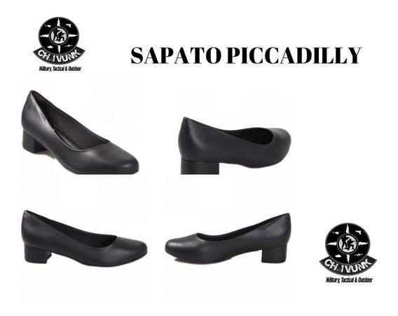 Sapato Piccadilly Feminino Scarpin Salto Baixo Pto E Branco