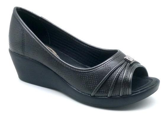 Sapato Feminino Peep Toe Anabela Azaleia Linha Leve Conforto