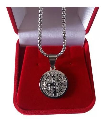 Correntinha 60cm Fininha Cordão Medalha São Bento Aço Inox