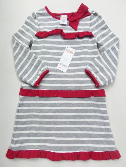 Vestido Gymboree 2anos - Cinza Listra Com Vermelho