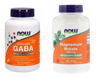 Combo, Gaba Mastigável + Magnésio Malate , Now Foods !