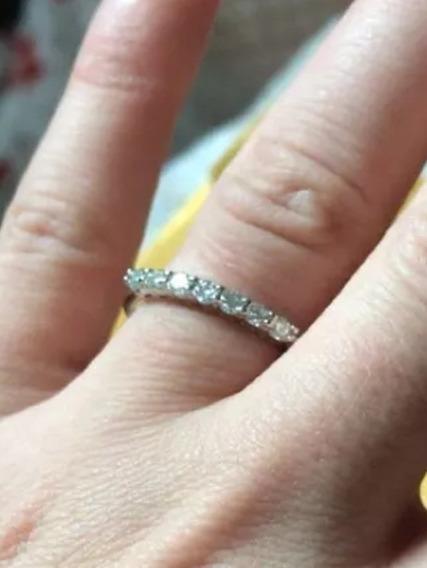 Anel Moissanites Prata 925 Diamantes Brilhantes Sintéticos