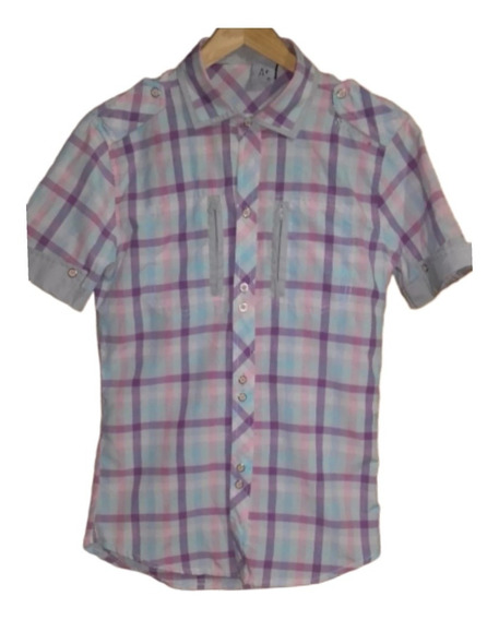 Camisa A Rayas - Cuadros Mangas Cortas Talle S * Hombre *