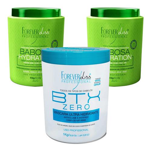 Kit Hidratação Forever Liss 1 Botox Zero E 2 Mascara Babosa