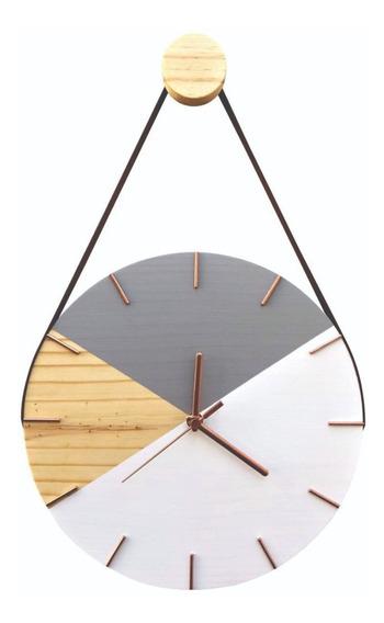 Relógio Parede Decorativo Moderno Natural Rosê Cinza C/ Alça