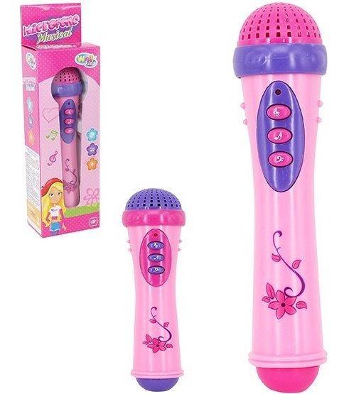 Brinquedo Microfone Musical Infantil Com Luz E Som Menina