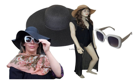 Óculos De Sol Feminino + Chapéu Aba Larga Floppy + Saída Kit