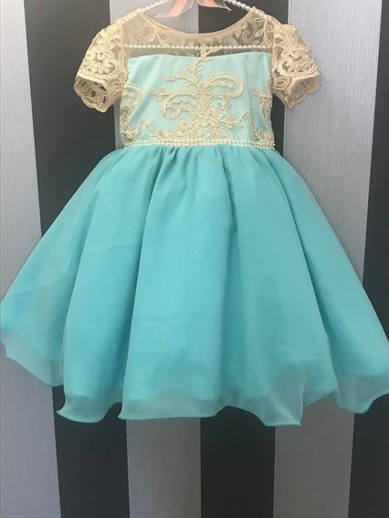 Vestido Festa Infantil Azul/verde Rodado