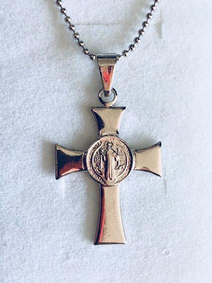 Cruz Medalha São Bento Com Corrente Folheada Em Prata