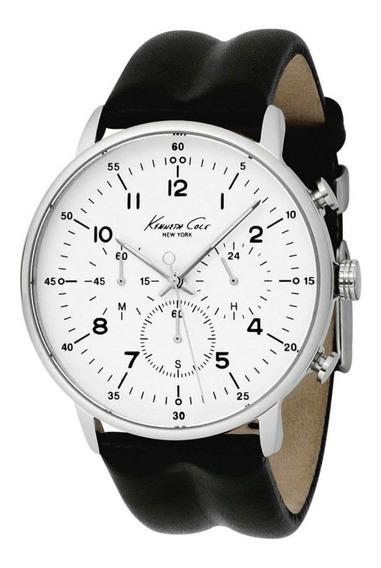 Reloj Kenneth Cole Hombre Piel Negro Plata Cronógrafo Nuevo