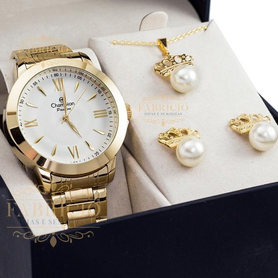 Relógio Feminino Champion Ch24697j Com Brinde