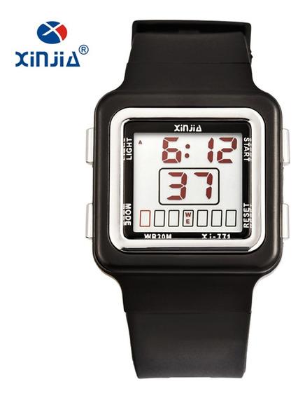 Relógio Feminino Sinoke Fitness Digital Preto E Rose Prova De Água Cronometro Calendário Alarme E Luz