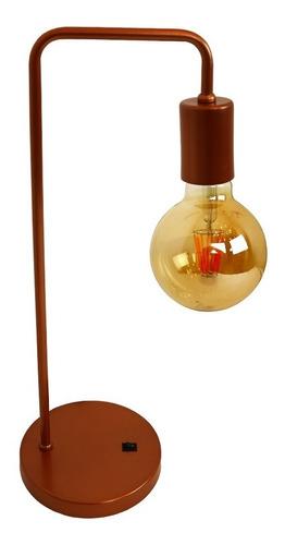 Luminária Mesa Abajur Retrô Vintage Cobre Botao Ligadesliga