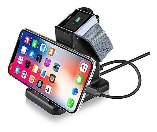 Moutik 2 En 1 Fitbit Ionic Charger Con Soporte Para Teléfon