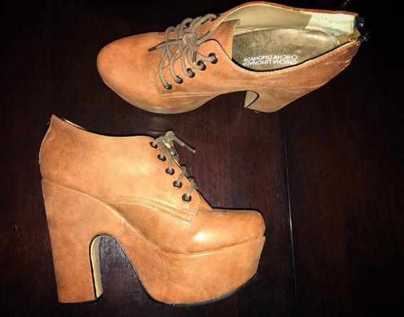 Zapatos Botinetas Con Plataforma