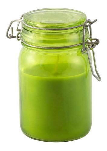 Vela Perfumada Decorativa Em Vidro Verde Tampa Capim Limão