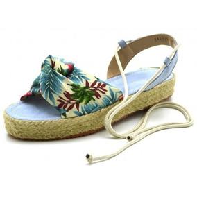 Sandália Rasteira Flat Form Avarca Em Tecido Floral Verão