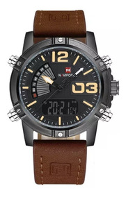 Relógio Masculino Naviforce 9095 Esportivo Militar Couro