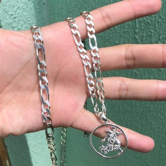 Conjunto Prata 925 Corrente+pingente São Jorge +pulseira