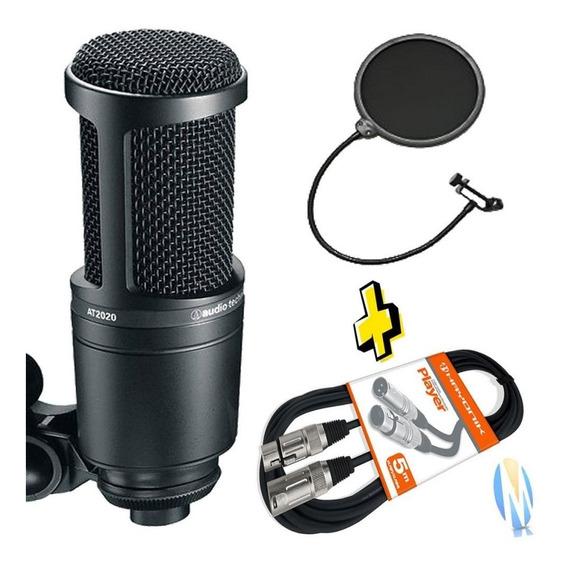 Kit Microfone Audio Technica At2020 + Cabo Xlr+ Pop Filter