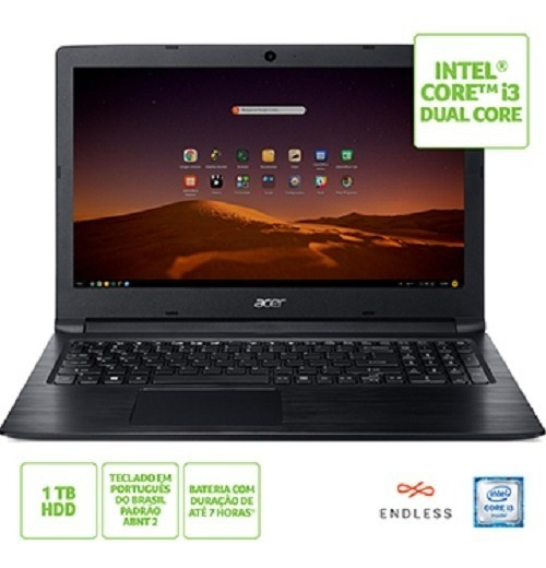 Notebook Acer A315-53-3470 / I3 / 4gb / 1tb / Linux / 15.6