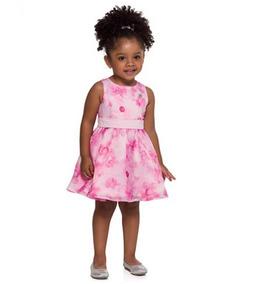 Vestido Infantil Menina Mundi Rosa Floreado Tecido Organza.
