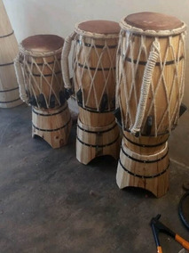 Trio De Atabaque Pra Capoeira.madeira Pinus, De Corda Couro