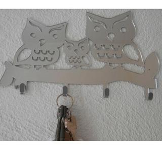 Quadro Porta Chave Espelhado De Coruja Parede Decorativo
