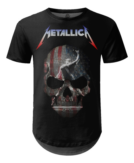 Camiseta Masculina Longline Metallica Estampa Digital Md05